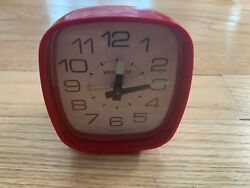Red Classic Traveling Alarm Clock Westclox Wind Up Made in USA WORKING