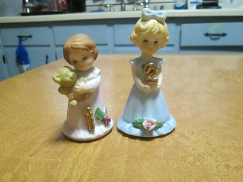 Set of Two Enesco Growing Up Birthday Girl Figurines (1 and 2)