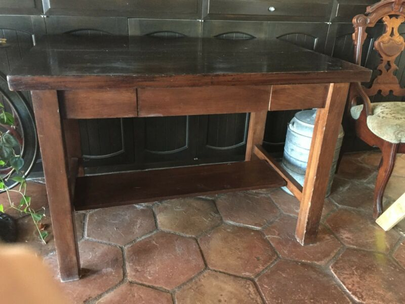 Antique Circa 1910 Primitive Style Walnut Library Table