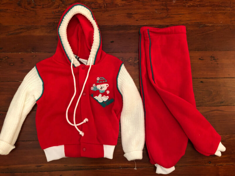 Vintage Santa's Club Toddler 2Pc Hoodie Sweatshirt & Pants Bear Sled Red 24M 80s