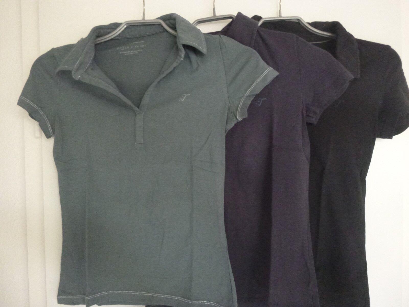 Tom Tailor T-Shirts mir Kragen 3er Set schwarz, blau, grau S 36