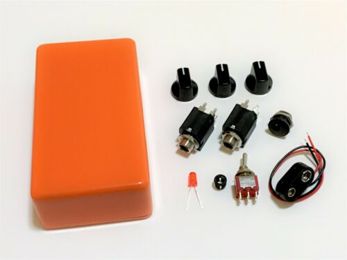 DIY Guitar Pedal Parts Kit Orange 1590B Knobs Jacks LED Toggle Switch 9V Clip