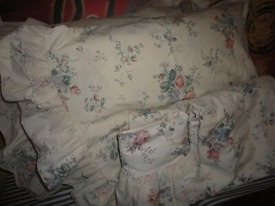 - VINTAGE UTICA DORMA/CHESTNUT HILL PINK GREEN FLORAL (4PC) TWIN SHEET SET