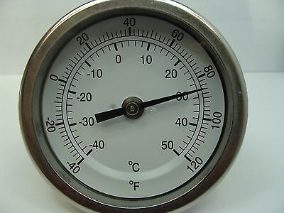 """316 Stainless Steel Stem Bimetal Thermometer -40//160/°F and -40//71/°C 2 Stem Length PIC Gauge B2B2-BB 2/"""" Dial Size Back Angle Connection Stainless Steel Case"""
