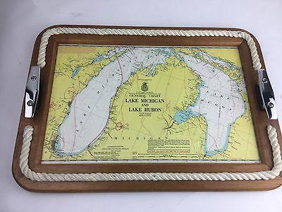 Wooden Nautical Rope Tray w/ Ship & Dock Cleat Handles Lake Michigan & Huron map
