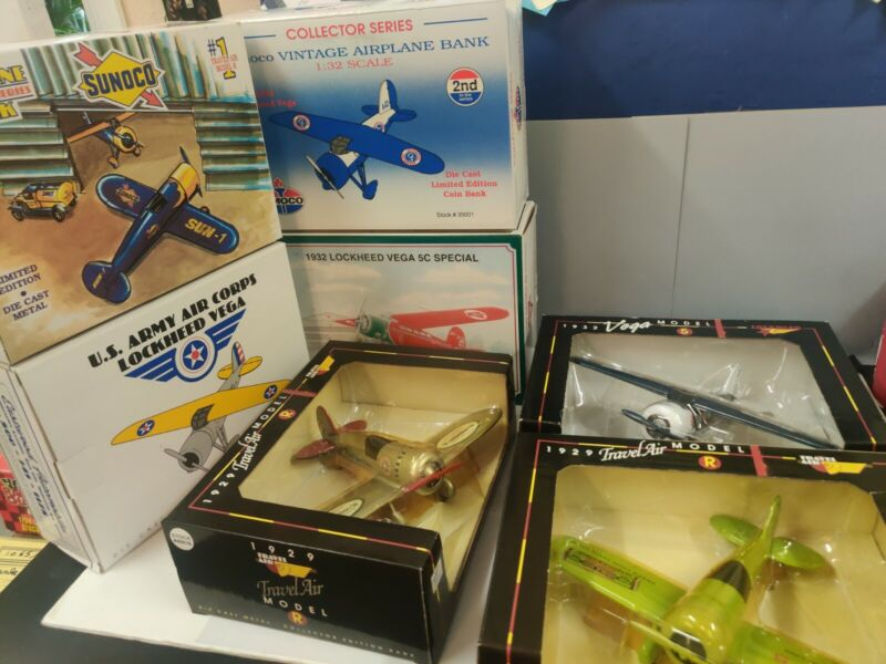 Lot of 7 Vintage Diecast Plane Coin Bank