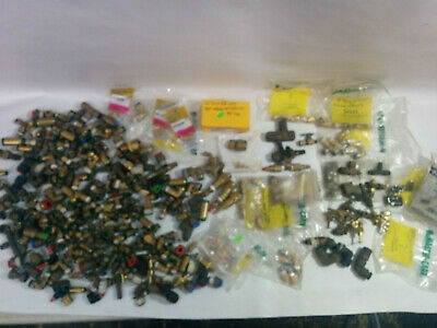 22 Lb. Assorted Brass Fittings Lot One Push Air Pneumatic Plumbing Compression