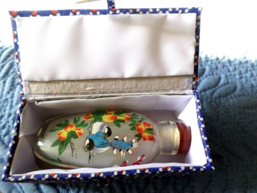 Vintage Chinese Glass Reverse Hand Painted Snuff Bottle Bluebird Flowers - MIB