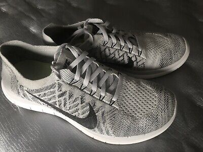 Women's Nike Free 4.0 Flyknit Running Shoes Size 9 M Pure Platinum Grey/Black