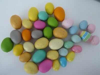36  Easter Eggs Assorted Colors Speckled Plastic Real Like Decoration Lot A1759 (Easter Egg Colors)