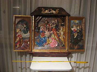 Flügelaltar, geschnitztes Krippenbild, Weihnachtskrippe, Wandbild, massiv Holz