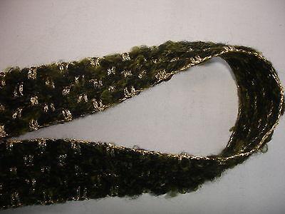 5 m Wollborte 0,50€/m  2,7cm breit, grün, gold metallic SB66