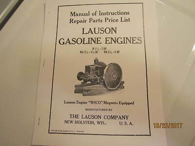1938 Lauson W Wa Wb Gas Engine Instruction Parts Manual