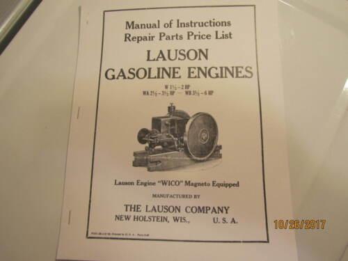 1938 Lauson W, WA, WB Gas Engine Instruction Parts  Manual