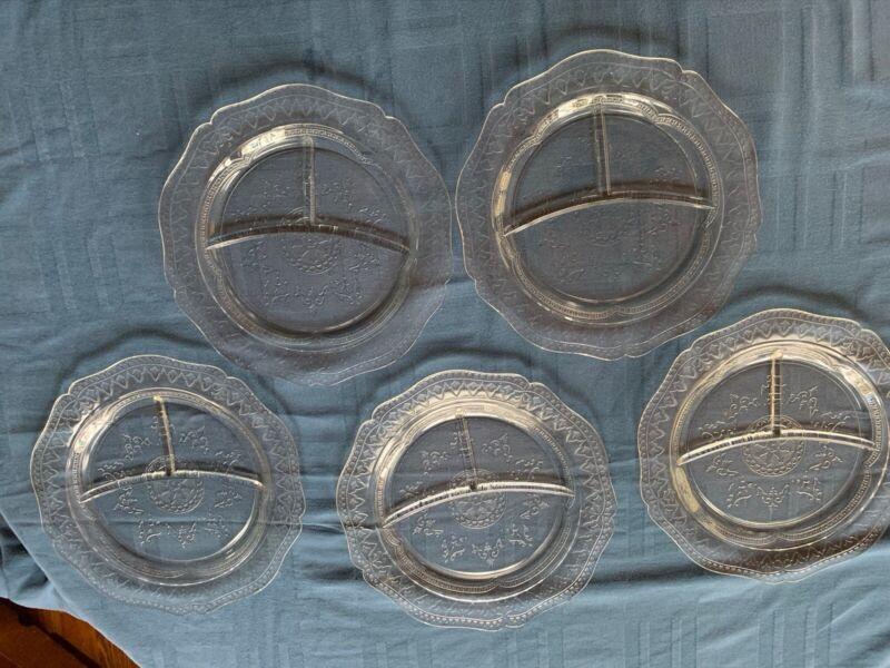 "Federal Glass Patrician ""Spoke"" 1933 - 1937 Five Grill Plates Free Shipping 2 U!"