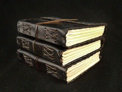 Bargain Set of THREE Pocket Leather Journals - Pages of Cartridge Drawing Paper