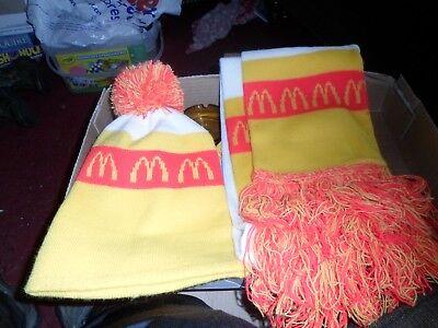 Vintage McDonalds Ronald McDonald Knit WinterBeanie Pom Poms Cap Hat & Scarf
