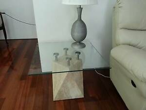 LAMP / SIDE TABLE - TRAVERTINE BASE with GLASS TOP Alkimos Wanneroo Area Preview