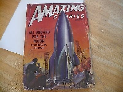 AMAZING STORIES PULP - APRIL 1947 - MISSING BACK CVR- COOL FRONT COVER ATTACHED