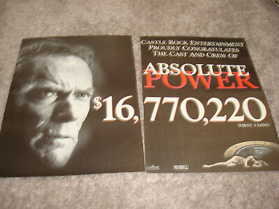 ABSOLUTE POWER with CLINT EASTWOOD 1997 box office ad Gene Hackman, Ed Harris for sale  Shipping to India