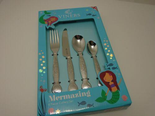 Viners Mermaid Silverware Kids 4-Piece Kids Cutlery Set Mermazing Fork Spoon NEW