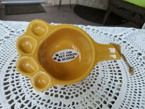 Ganz Ceramic 1/2 Cup Pet Food Scoop Mustard Yellow