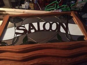 Stained glass mirror SALOON sign