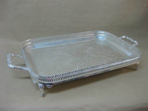 Queen Anne Silver Plated Gallery Tray ~ Footed With 2 Handles ~ Mayell ~ Boxed