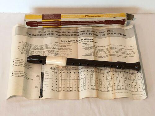 Vintage Cambridge Duranite Soprano Recorder Musical Instrument Box Instructions