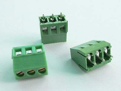 10x 3-pin 5mm Pitch Pcb Mount Screw Terminal Block - Usa Seller - Free Shipping