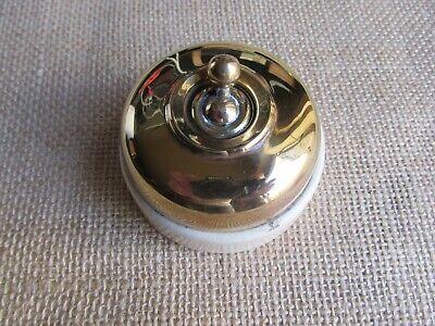 Vintage brass / porcelain switch . ( TM02)