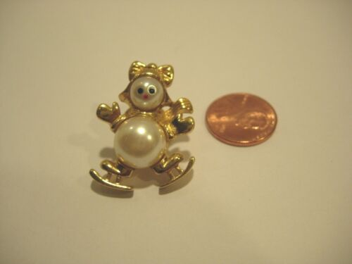 """SNOWMAN FAUX PEARL ICE SKATING LADY CHRISTMAS BROOCH PUSH PIN jewelry 1 1/4"""""""