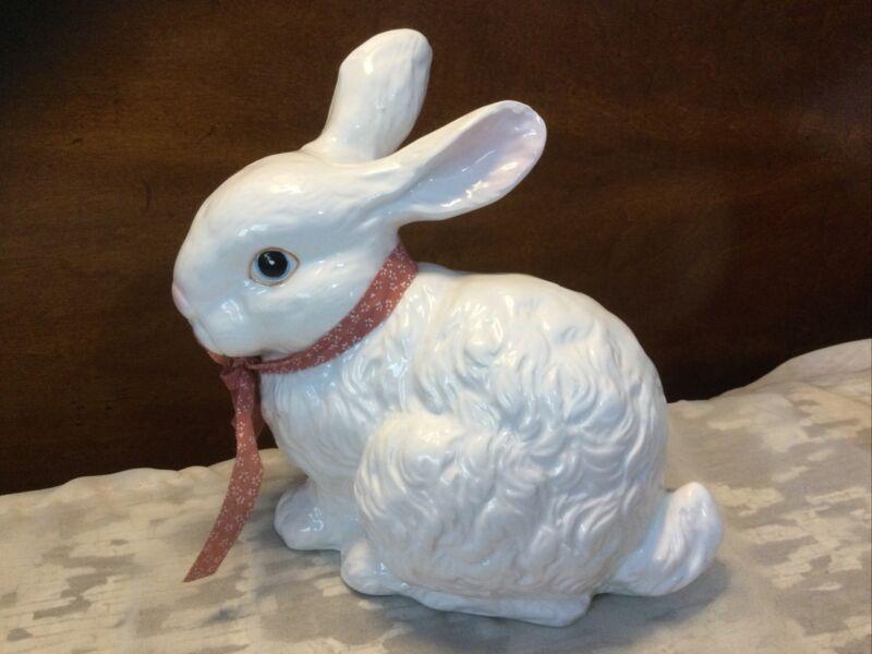 "Large 6"" Enesco Ceramic Porcelain White Easter Bunny Rabbit Figurine"