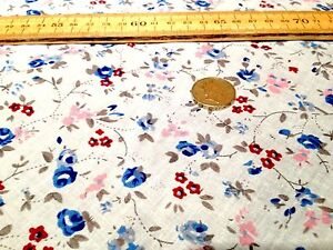 FLORAL-POLYCOTTON-FABRIC-MULTI-COLOURED-BOUQUET-MIX-of-BLUE-RED-PINK-BROWN