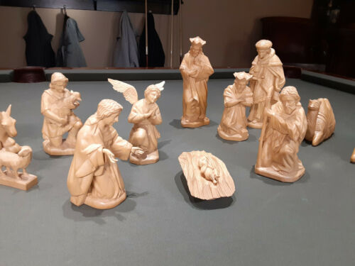 and carved nativity - 15 piece