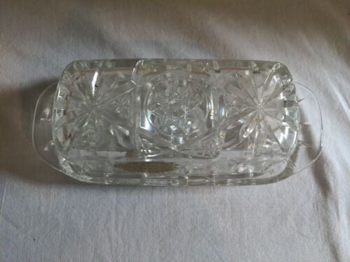Anchor Hocking Clear Glass Early American Prescut Pattern 1/4 Lb. Butter Dish  - $12.00
