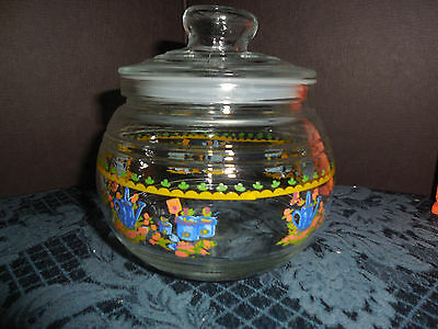 GLASS CONTAINER WITH RUBBER SEAL LID WATER PAIL AND ROSE DESIGN  EUC