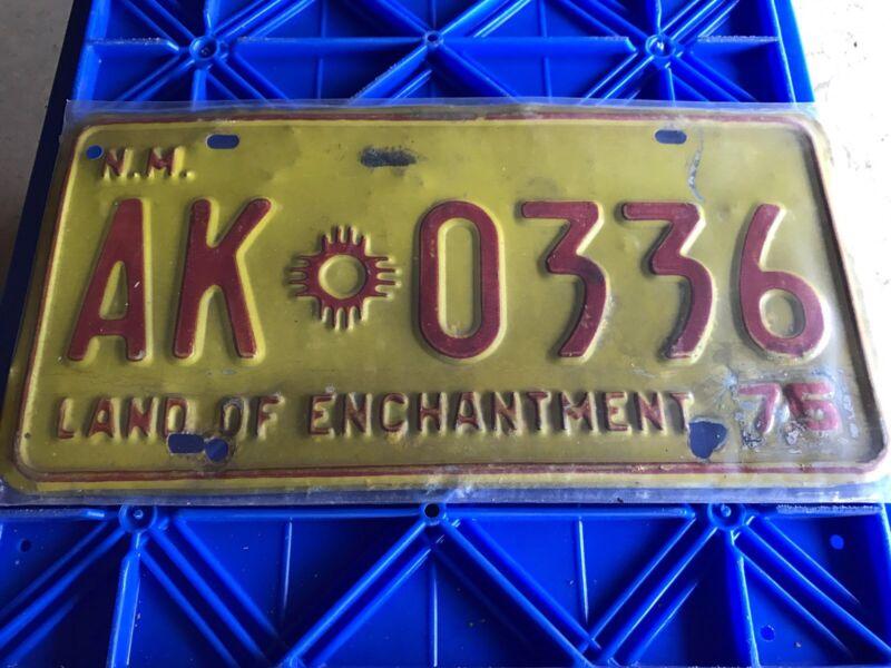 1975 New Mexico License Plate AK 0336