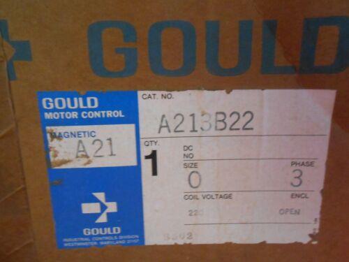 GOULD A213B22 MAG. MOTOR CONTROL STARTER; NEMA SZ 0, 3-PH, 220V COIL