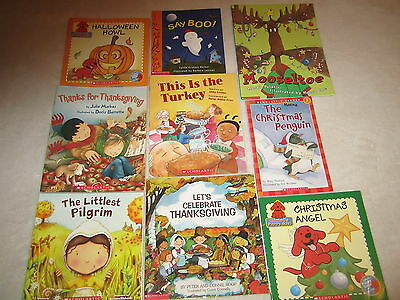 LOT HOLIDAY CHILDRENS READING BOOKS SCHOLASTIC THANKSGIVING HALLOWEEN CHRISTMAS