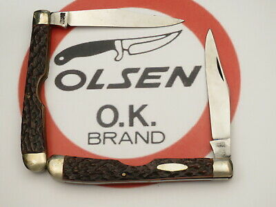 Vintage OLSEN KNIFE CO Slim Trapper Pocket Knives Bone Handles Lot of Two