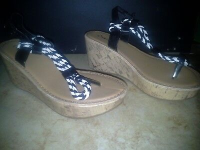 Qupid-Women's-Bali-Strappy Braided Platform Wedge Sandal-Size:6-Slip On-Black, used for sale  Shipping to Nigeria
