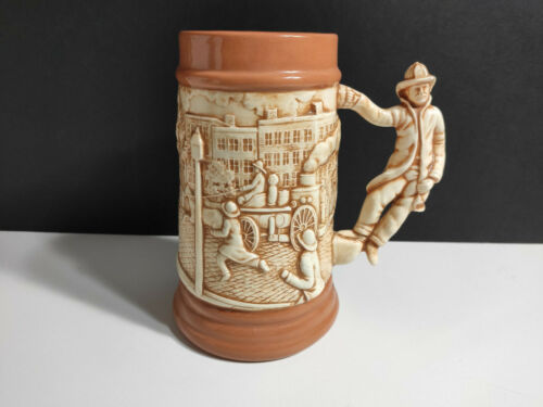 Firefighter beer Stein Fire Truck Horses Rescue  fire Man Handle detail Vintage