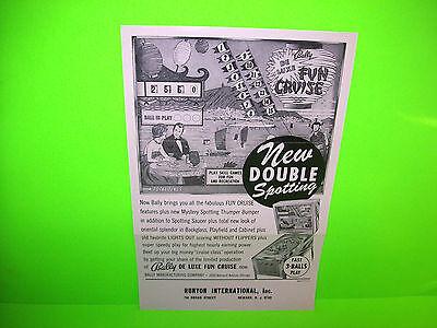Bally Deluxe FUN CRUISE Original  1966 Flipper Game Pinball Machine Sales Flyer
