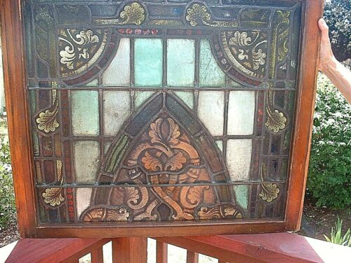 Rare Set of 2 Antique Architectural Victorian Stain Glass Windows