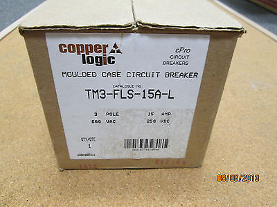 New Copper Logic Moeller Tm3-fls-15a-l Moulded Case Circuit Breaker.