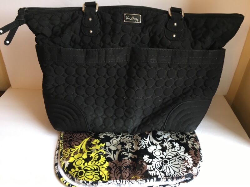 VERA BRADLEY Quilted Black Microfiber BABY DIAPER TOTE BAG with Changing Pad