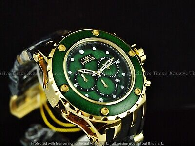 Invicta Men 52mm Subaqua High Polish Chrono Emerald Green Wood Dial Strap Watch