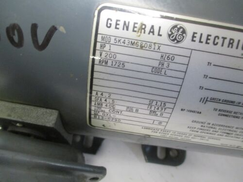 General Electric Motor 1 HP, 1725 RPM, 200 V, 4.2 A