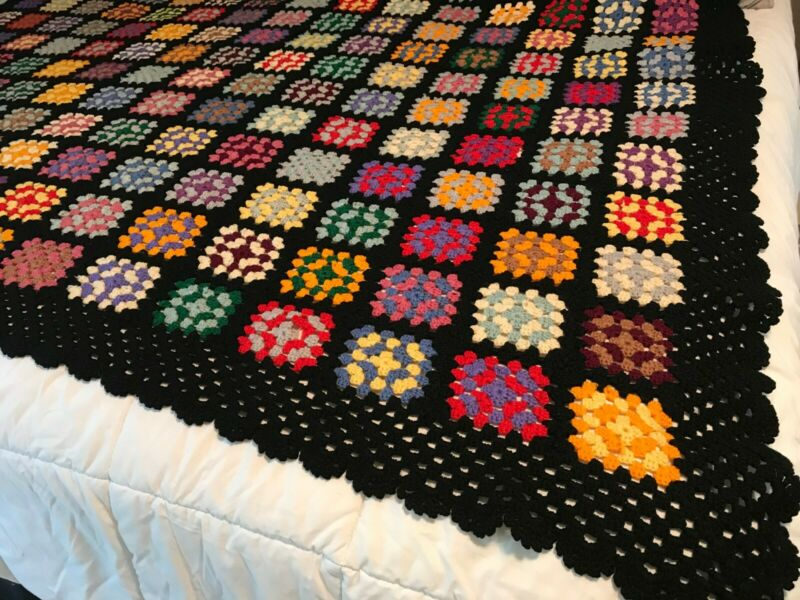 "Hand Crochet Granny Square Afghan/Throw black with multi color squares 78"" x 58"""